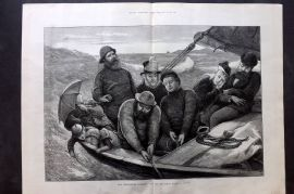 ILN 1880 LG Antique Print. Whitsuntide Holidays: Life on The Ocean Wave